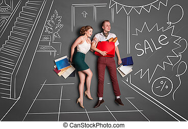 On shopping - Love story concept of a romantic couple on...