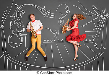 Jazz serenade. - Love story concept of a romantic couple...