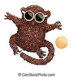 Tarsier with cookie - A funny tarsier made of roasted coffee...