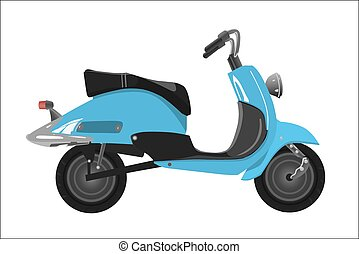 Retro scooter, blue with the chromeplated elements