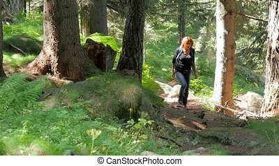 hiker woman - woman hiking in a wild forest