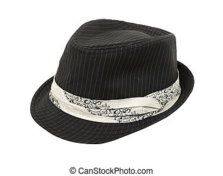 Black Fedora hat with white band - Black pinstriped Fedora...