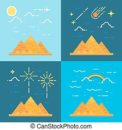 Flat design 4 styles of pyramids of Giza Egypt illustration...