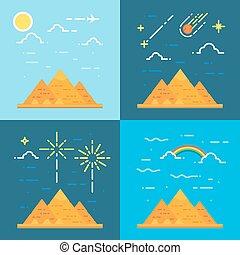 Flat design 4 styles of pyramids of Giza Egypt