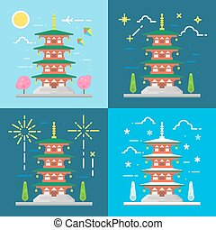 Flat design 4 styles of Chureito pagoda Japan illustration...