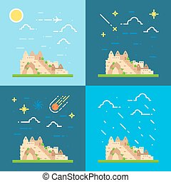 Flat design 4 styles of Machu Picchu Peru illustration...