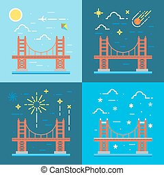 Flat design of Golden gate illustration vector