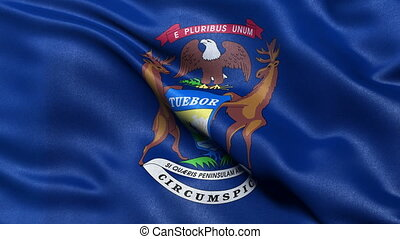 Michigan state flag loop - Michigan state flag waving in the...