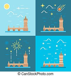 Flat design of Charles bridge Czech illustration vector
