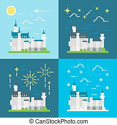 Flat design of Neuschwanstein castle Germany illustration...