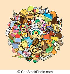 Set of sweets, hand-drawn, vector Doodle