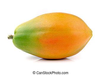 Papaya isolated on white background - ripe papaya isolated...