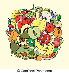 Vector illustration of many fruits, doodle style