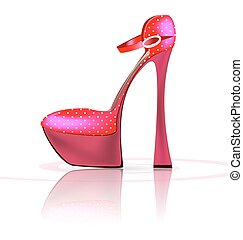 pink semi-shoe - white background and the pink ladys shoe