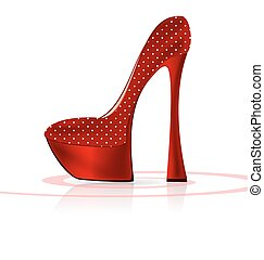 red-white shoe - white background and the red ladys shoe