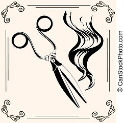 vintage scissors - black outlines of womans hair and vintage...