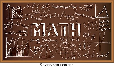 School board doodle with formulas and graphs on math. Vector illustration
