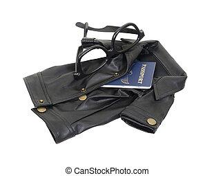 Spy Kit - Spy kit consisting of a black leather overcoat,...