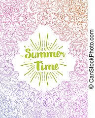 Summer Time card. Baroque style - vector. Summer Time card....