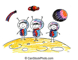 Happy kids in space. Picture of happy kids