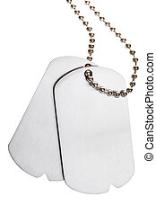 blank tags - blank army dogtags isolated on white background...