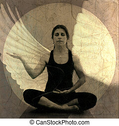 Spirit Open - Woman in receptive yoga mudra meditiation pose...