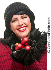Attractive Woman Holding Red Ornaments