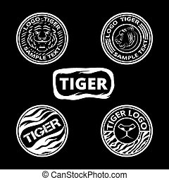 Set of logos with tigers, striped icons and lagels. Graphic...