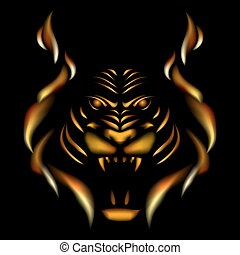 Tiger made of flame, vector illustation on black gackground
