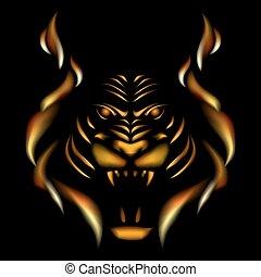Tiger made of flame, vector illustation on black gackground.
