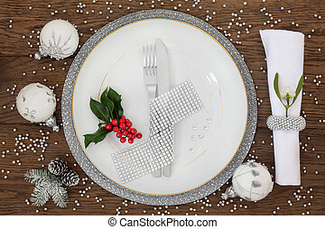 Sparkling Christmas Place Setting - Christmas dinner place...