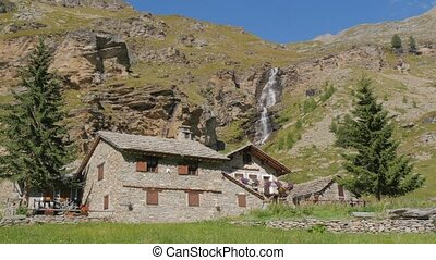 alpine landscape with stone-house - beautiful alpine...