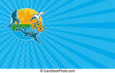 Business card Hiker Scuba Diver Island Tropicbird Flowers...