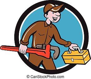 plomero, mono, proceso de llevar, llave inglesa, círculo, caja de herramientas