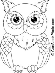 Owl coloring page - The image of the owl on a white...