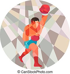 Boxer Boxing Punching Circle Low Polygon - Low polygon style...