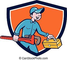 plomero, mono, proceso de llevar, llave inglesa, caja de herramientas, protector