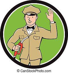 Gas Jockey Attendant Waving Circle Cartoon