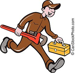 plomero, mono, proceso de llevar, llave inglesa, caja de herramientas, caricatura
