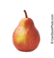 Red pear fruit isolated over the white background