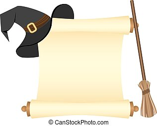 Parchment and hat witch - Halloween template. Parchment and...
