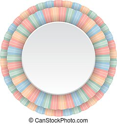 Round frame of color pencils. Vector illustration.