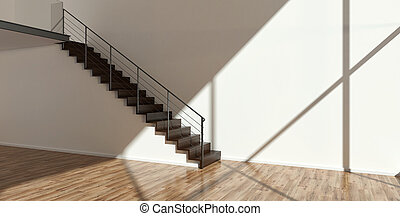Empty interior with modern stairs