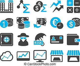 Accounting service and trade business icon set These flat...