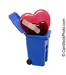 Recycled broken hearts - Recycle bin used to hold items to...