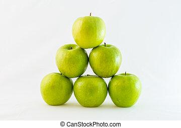 piramide, maçãs