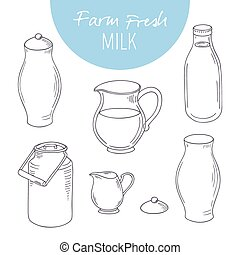 Set of sketchy dairy farm objects. Milk goods clip art....