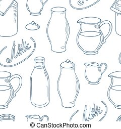 Outline seamless pattern with milk objects. Background for...