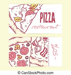 Business cards templates with different hand drawn pizza slices. Vector illustration