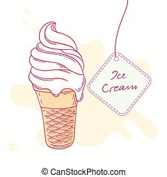 Hand drawn ice cream sundae in waffle cone isolated Vector...